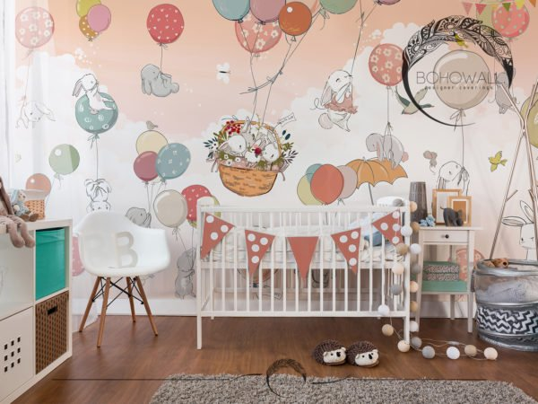 Детская фреска в интерьере Happy Basket_Bohowall