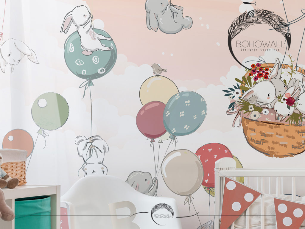 Детская фреска Happy Basket в интерьере