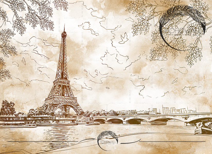 Romantic Paris_sepia_Bohowall