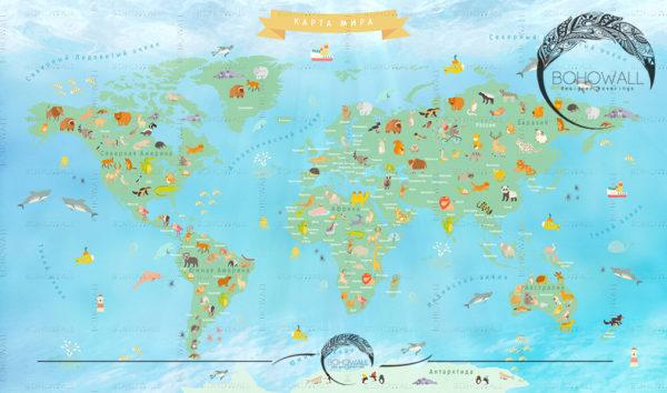 freska_World Map for children_Bohowall .ru
