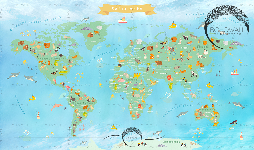 freska_World Map for children_Bohowall .ru