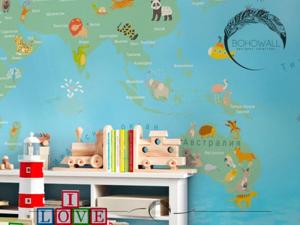 World Map for children_Bohowall _fr