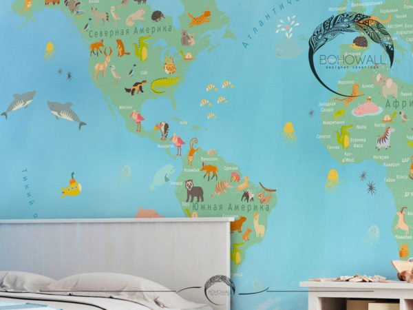 World Map for children_Bohowall