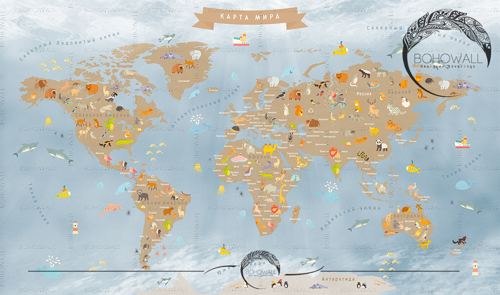 World Map for children_navy