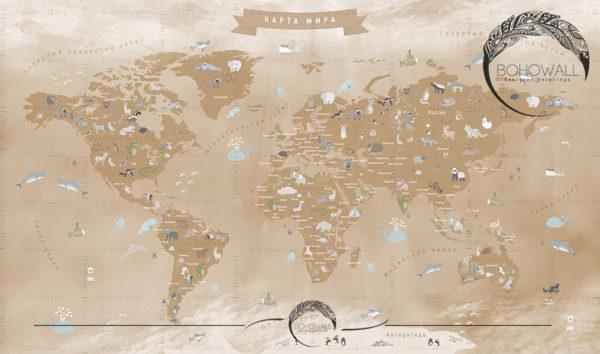 freska_World-Map-for-children_sepia_Bohowall-2