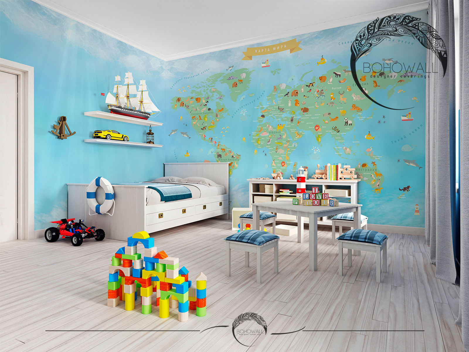 World Map for children_v_interiere_Bohowall