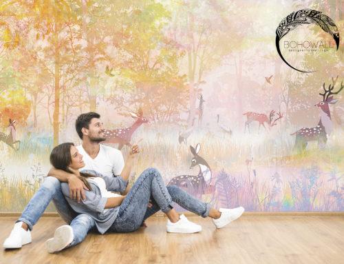 Фреска New birth для детской (лес с оленями)